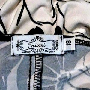 Trixxi Dresses - Trixxi Black Cream Floral Stripes Dress Size 18